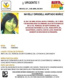 Nayelly Drisdell, desaparecida el 1 de abril de 2014 en México.
